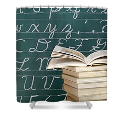 Books And Chalkboard Shower Curtain by Chevy Fleet