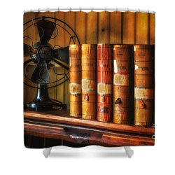 Books And Fan Shower Curtain by Jerry Fornarotto