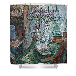 Books And Flowers Shower Curtain