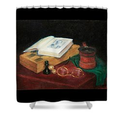 Books-chess-coffee Shower Curtain