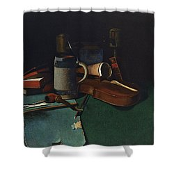 Books Mug Pipe And Violin Shower Curtain