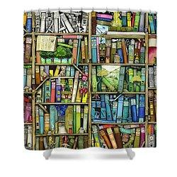 Bookshelf Shower Curtain by Colin Thompson