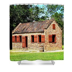 Shower Curtain featuring the photograph Boone Hall Plantation Slave Quarters by Greg Simmons
