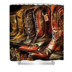 Boot Rack Shower Curtain by Michael Pickett