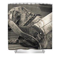 Shower Curtain featuring the photograph Boot Scootin by Steven Bateson