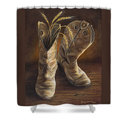 Boots And Wheat Shower Curtain