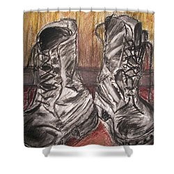 Boots In The Hall Way Shower Curtain