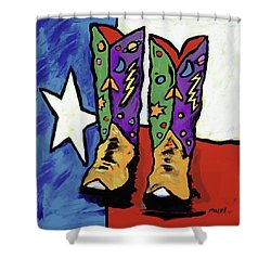 Boots On A Texas Flag Shower Curtain