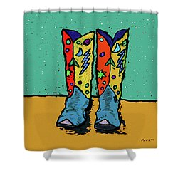Boots On Teal Shower Curtain
