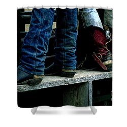 Boots Tell The Story Shower Curtain by Bob Christopher