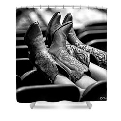 Boots Up - Bw Shower Curtain