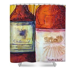 Shower Curtain featuring the mixed media Bordeaux Vino by Phyllis Howard