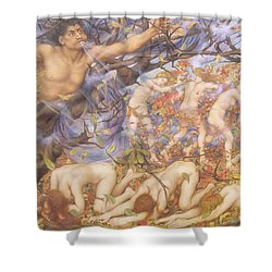 Boreas And Fallen Leaves Shower Curtain by Evelyn De Morgan