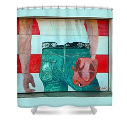 Born In The Usa Urban Garage Door Mural Shower Curtain