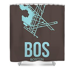 Bos Boston Airport Poster 2 Shower Curtain by Naxart Studio