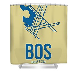 Bos Boston Airport Poster 3 Shower Curtain by Naxart Studio