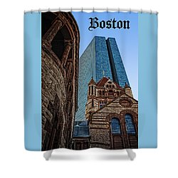Boston Architecture Icon Poster Shower Curtain