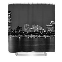 Boston Back Bay Skyline At Night Black And White Bw Panorama Shower Curtain