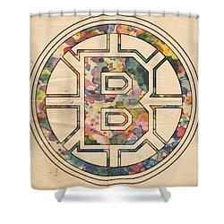 Boston Bruins Poster Art Shower Curtain