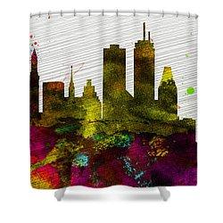 Boston City Skyline Shower Curtain by Naxart Studio