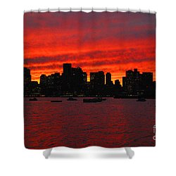 Boston City Sunset Shower Curtain