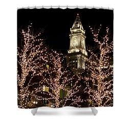 Boston Custom House With Christmas Lights Shower Curtain