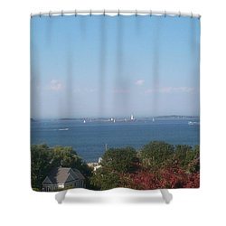Shower Curtain featuring the photograph Boston Harbor From Hull by Barbara McDevitt