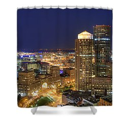 Boston Harbor Hotel Skyline Shower Curtain by Joann Vitali
