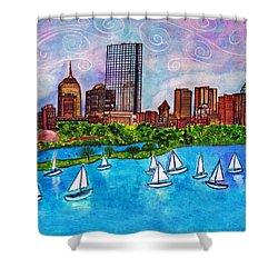 Boston Harbor Shower Curtain by Janet Immordino