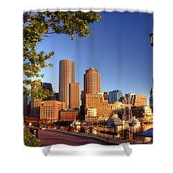 Boston Harbor Sunrise Shower Curtain by Joann Vitali
