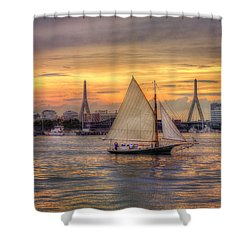 Boston Harbor Sunset Sail Shower Curtain by Joann Vitali