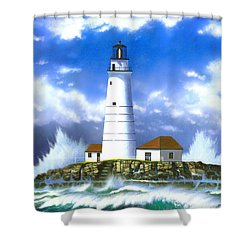 Boston Light Shower Curtain by MGL Studio - Chris Hiett