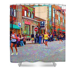 Boston Marathon Mile Twenty Two Shower Curtain by Barbara McDevitt