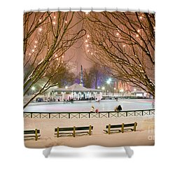 Boston New Year Skate Shower Curtain by Susan Cole Kelly