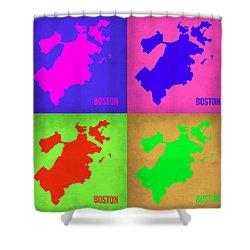 Boston Pop Art Map 1 Shower Curtain by Naxart Studio