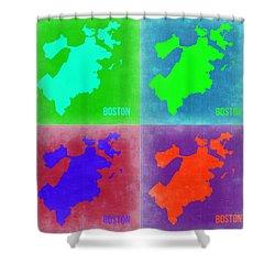 Boston Pop Art Map 2 Shower Curtain by Naxart Studio