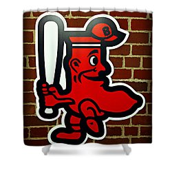 Boston Red Sox 1950s Logo Shower Curtain by Stephen Stookey