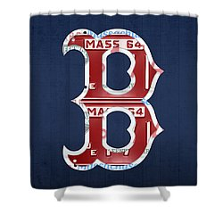 Charmant Boston Red Sox Logo Letter B Baseball Team Vintage License Plate Art Shower  Curtain