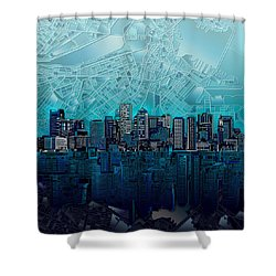 Boston Skyline Abstract Blue Shower Curtain by Bekim Art
