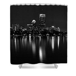 Boston Skyline By Night - Black And White Shower Curtain