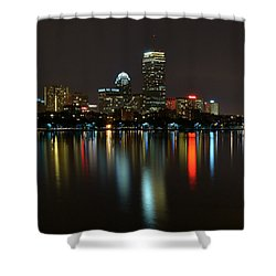 Boston Skyline By Night Shower Curtain