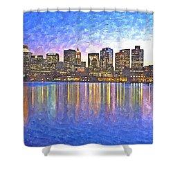 Boston Skyline By Night Shower Curtain by Rachel Niedermayer