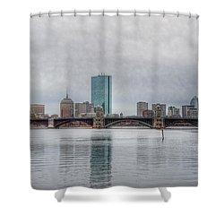 Boston Skyline On A Grey Day Shower Curtain by Joann Vitali