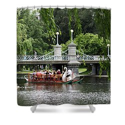 Boston Swan Boat Shower Curtain by Christiane Schulze Art And Photography