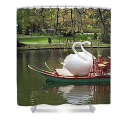 Boston Swan Boats Shower Curtain by Barbara McDevitt