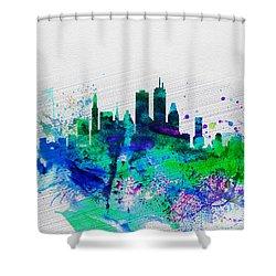 Boston Watercolor Skyline Shower Curtain by Naxart Studio