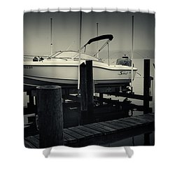 Boston Whaler In The Fog Shower Curtain