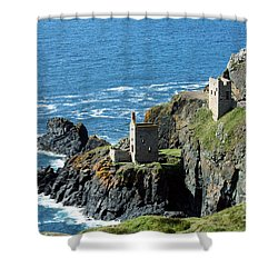 Botallack Crown Engine Houses Cornwall Shower Curtain by Terri Waters
