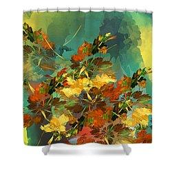 Shower Curtain featuring the digital art Botanical Fantasy 090914 by David Lane