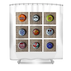 Bottle Caps Shower Curtain by Art Block Collections